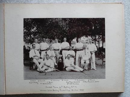 Cricket Team 29th Battery RFA. Winners Inter Battery Cricket Cup Kirkee 1899