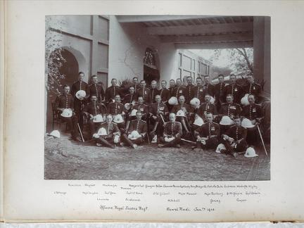"Officers Royal Sussex Regt. Rawal Pindi Jan. 1910	""Standing: Hamilton, Raynor, Mackenzie, Thomson, Rodgers, Capt. Glasgow, Dillon, Channer, Ferrier, Capt. Crawley-Borvey, Bridger, Birtwhistle, Duke, Anderson, Woodroffe, Wigley. Sitting: L'Estrange, Major"