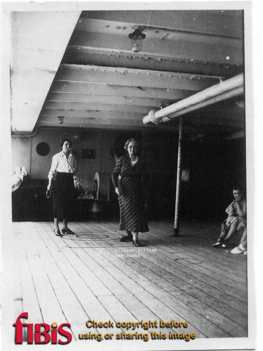 Lillian Gillham (nee Burns) and woman playing deck coits