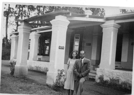 Man and woman outside building