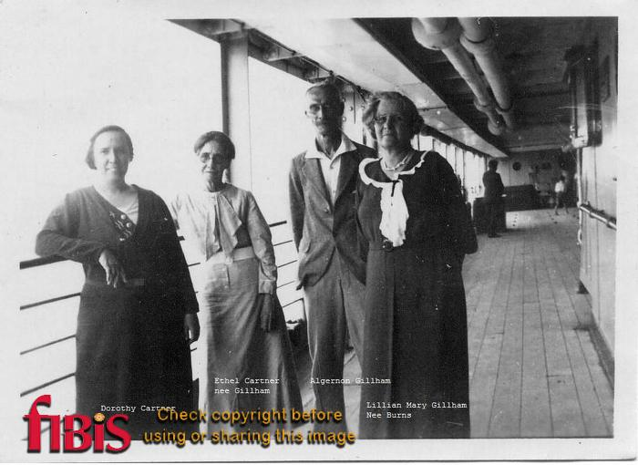 Cartner and Gillham family on board ship