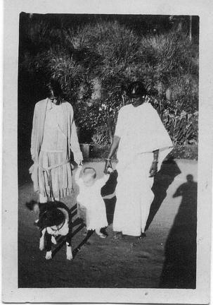 Two ladies, child and dog
