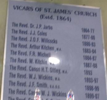 Earliest Vicars of St James Church, Calcutta