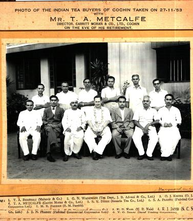 India Tea Buyers of Cochin with Mr Metcalfe on the eve of his retirement