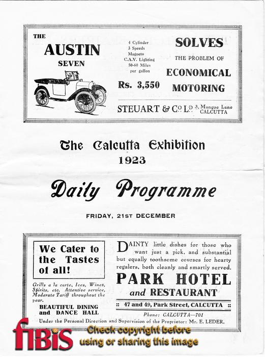Calcutta Exhibition Programme - Page 5
