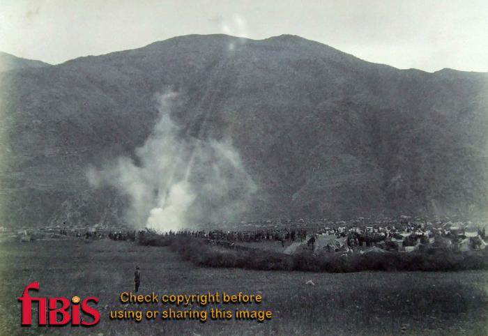 Artillery action shelling the village of Diliari Black Mtn Exp