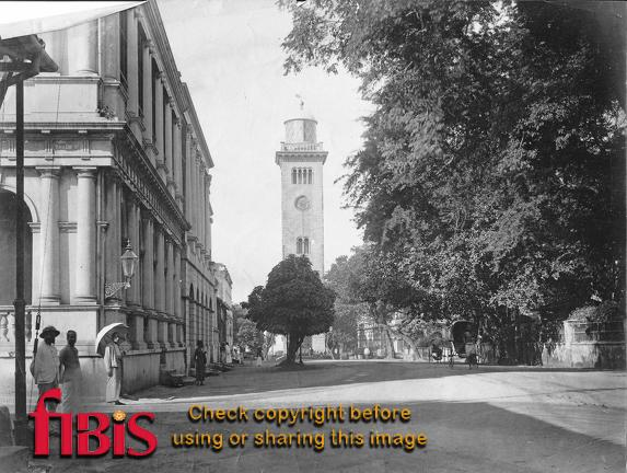 Clock Tower from Upper End of Queen Street, Colombo, Ceylon