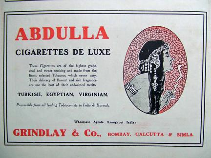 Abdulla Cigarettes Advertisement 1918