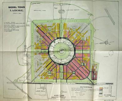 Map of Lahore Model Town 1937