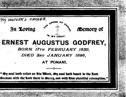Memorial card of Ernest Augustus Godfrey