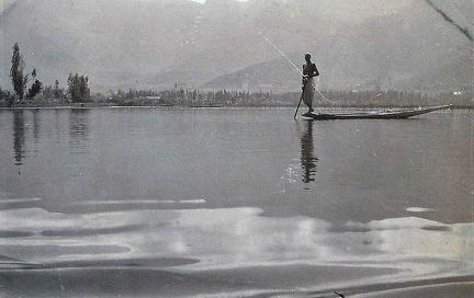Spearing fish, Dal Lake, Kashmir 1920