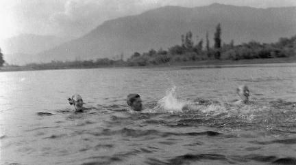 Bathing in one of the lakes in Srinagar 1930s