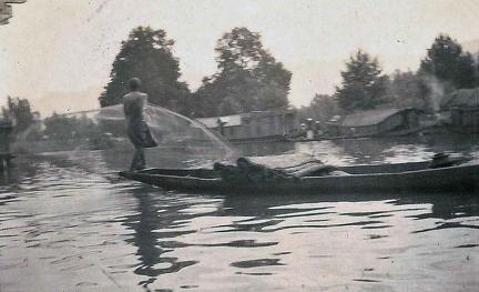Catching fish Dal Lake, Kashmir 1920