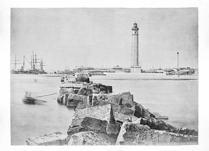 1879 January Egypt - Port Said Breakwater and Lighthouse