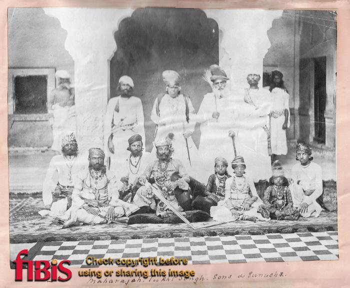 Group photograph of Maharajah Tukht Singh & sons & eunuchs