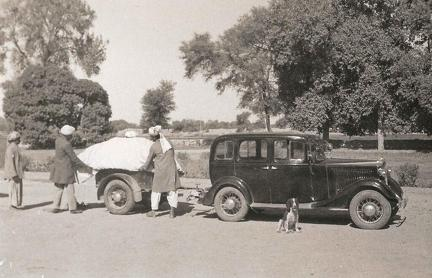 Vauxhall Light Six and trailer, Multan, Pakistan January 1936